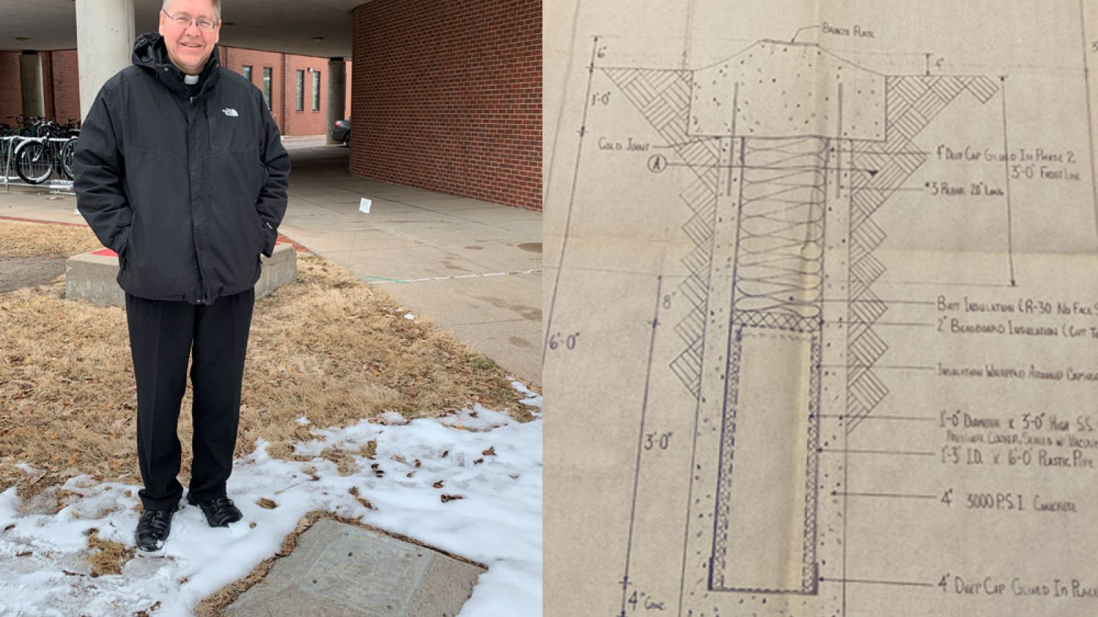 Father Bill Holoubek, a 1989 agricultural engineering alumnus, was in charge of the project to create and bury a time capsule outside The Link 32 years ago. Students led all phases of the project, including the creation of blueprints.