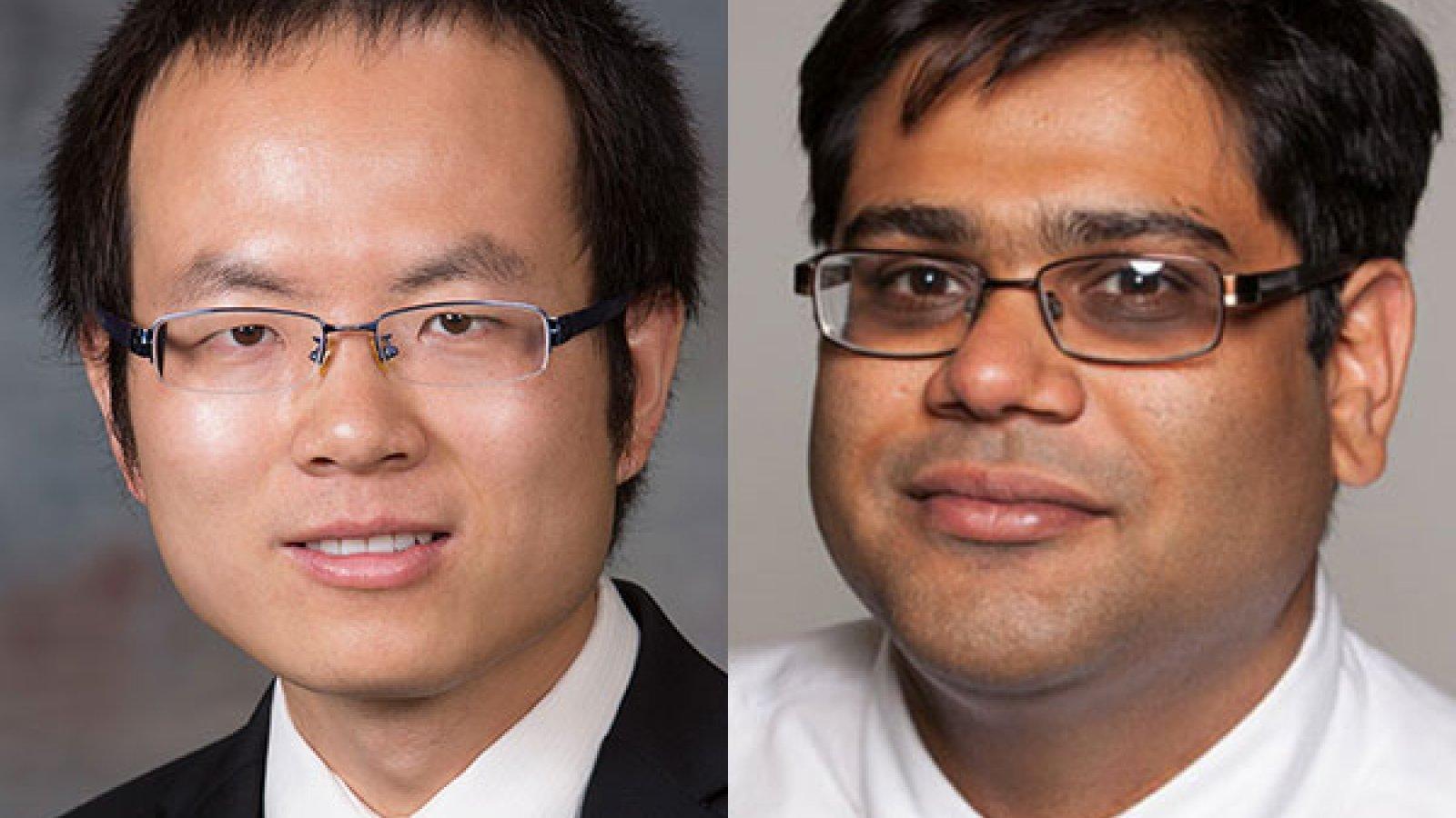 Mechanical and materials engineering assistant professors Bai Cui (left) and Prahalada Rao.