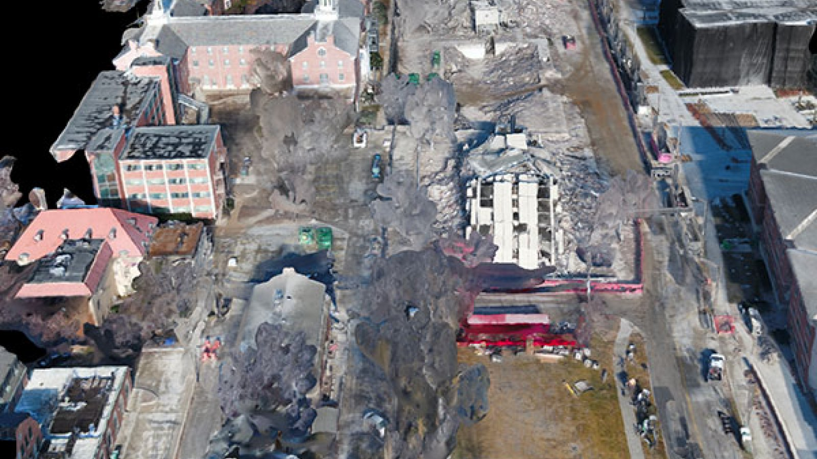 Richard Wood, assistant professor of civil engineering, took high-definition images of the Cather and Pound residence halls both before and after (pictured) their demolition on Dec. 22, 2017.