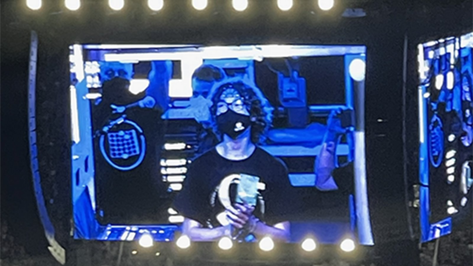 Carson Emeigh, a senior in mechanical and materials engineering, is introduced by Garth Brooks to the crowd of 90,000 fans in Memorial Stadium for the Aug. 14 concert. (Photo courtesy Carson Emeigh)