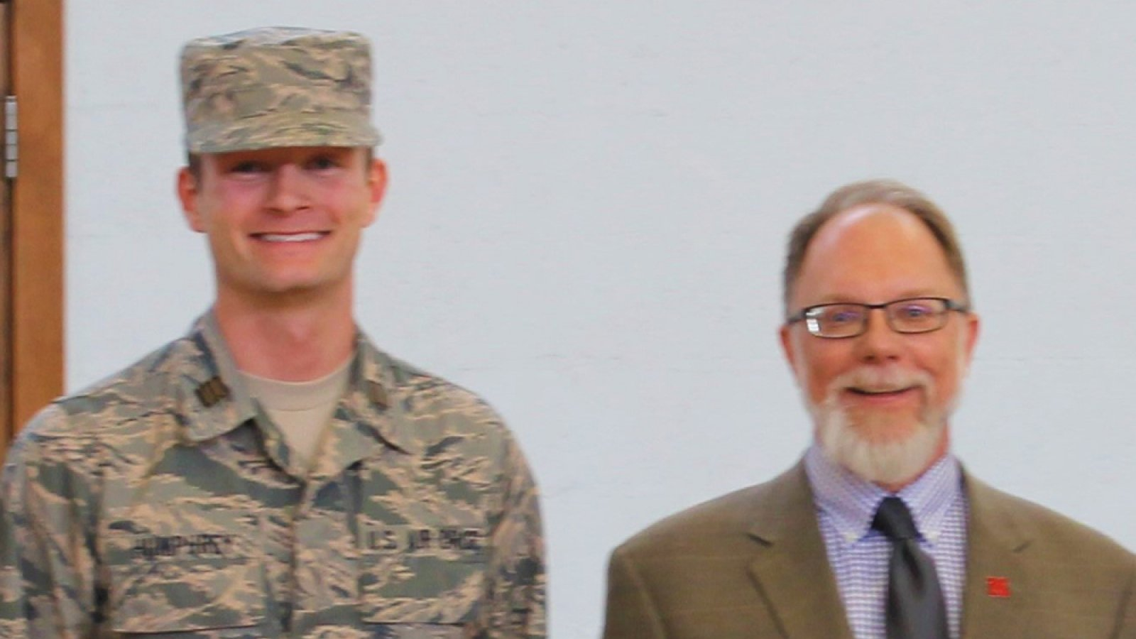 Justin Humphrey (left), a senior civil and environmental engineering major and a cadet in the University of Nebraska-Lincoln Air Force ROTC, has been chosen to receive the SAME ROTC Award of Merit.
