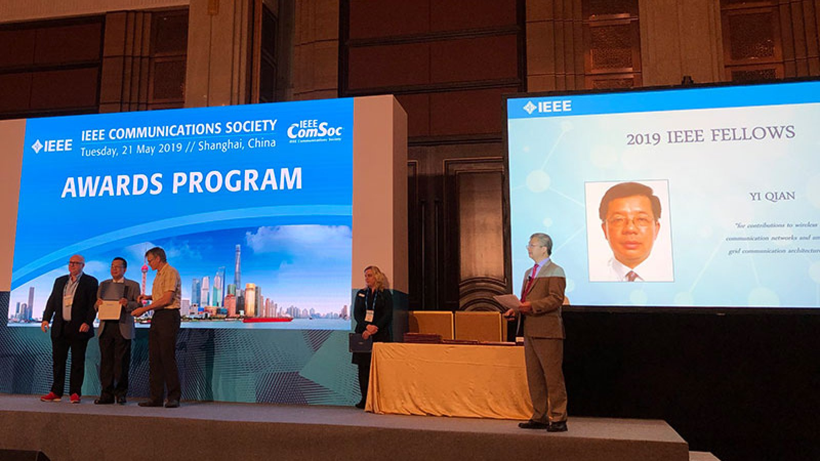 Yi Qian was honored at the 2019 IEEE International Conference on Communications in May in Shanghai, China for being named an IEEE Fellow.