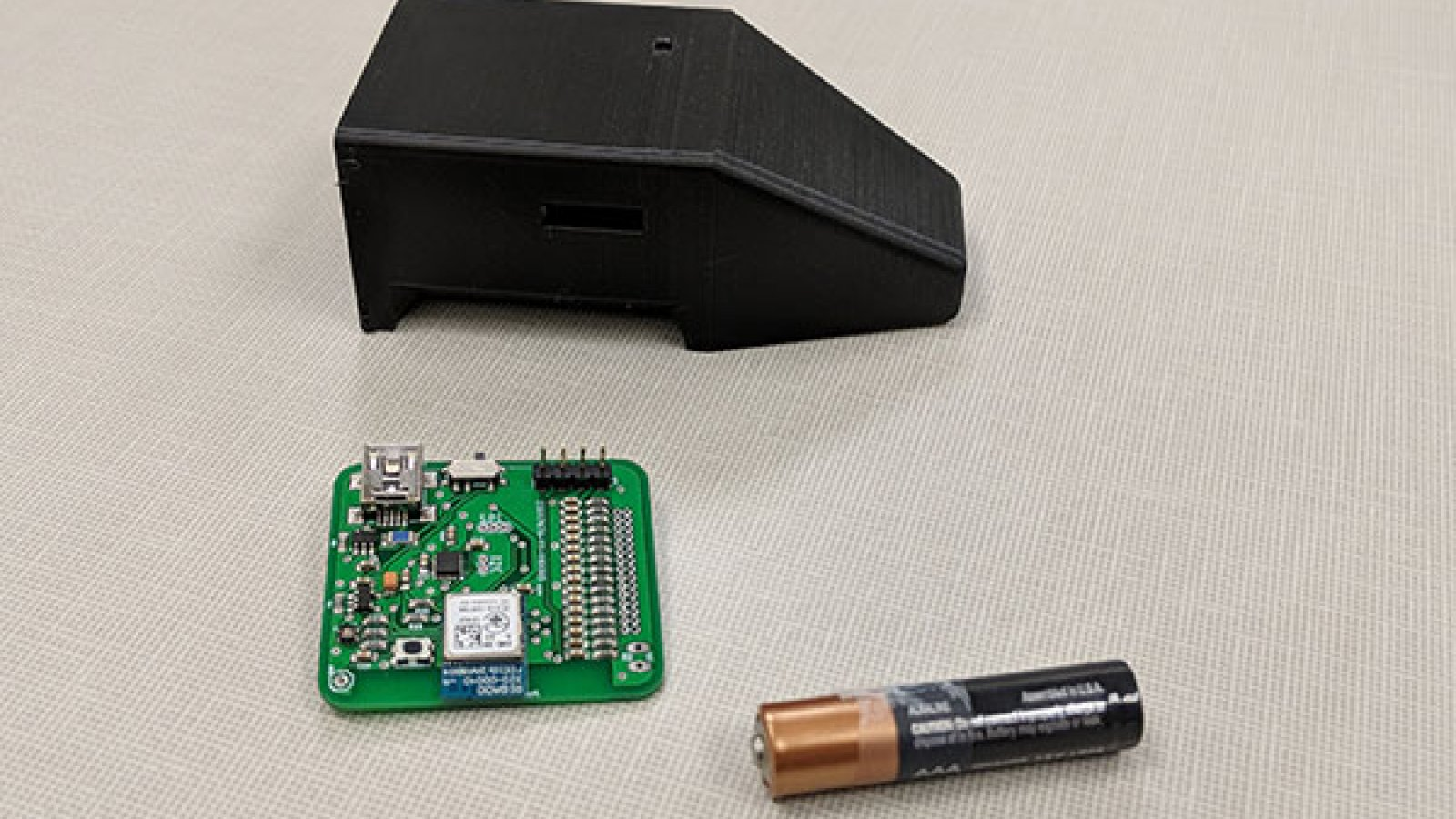 A team of electrical and computer engineering senior design capstone students designed an insole to monitor foot temperature in diabetes patients. The box that houses the control system and PCB sits atop the foot and is slightly longer than a AAA battery.