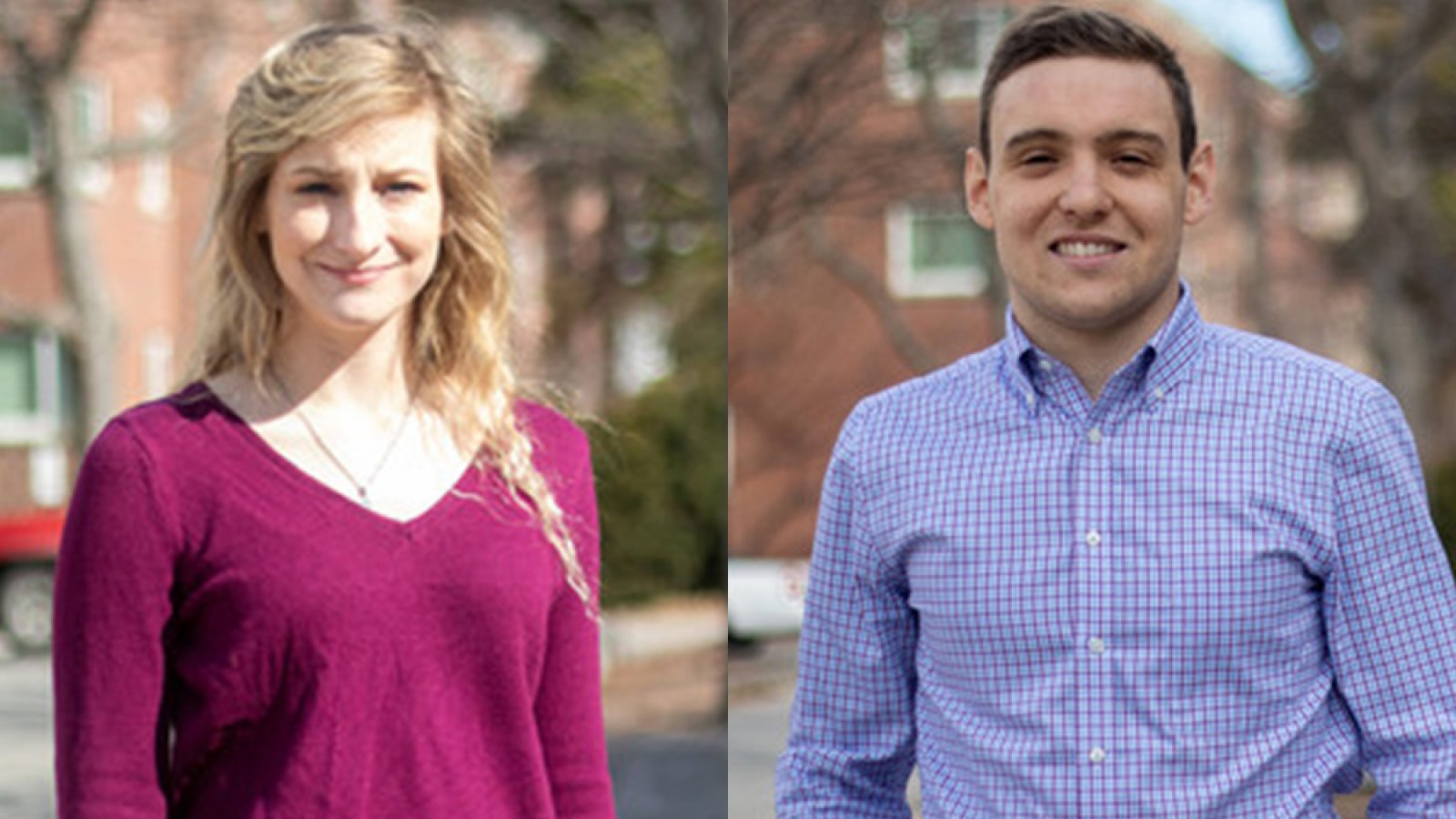 Madison Miller (left), a senior in chemical and biomolecular engineering, and Agustin Olivo, a graduate student in biological systems engineering, are among the 10 University of Nebraska-Lincoln students chosen to receive the 2020 Student Luminary Awards.