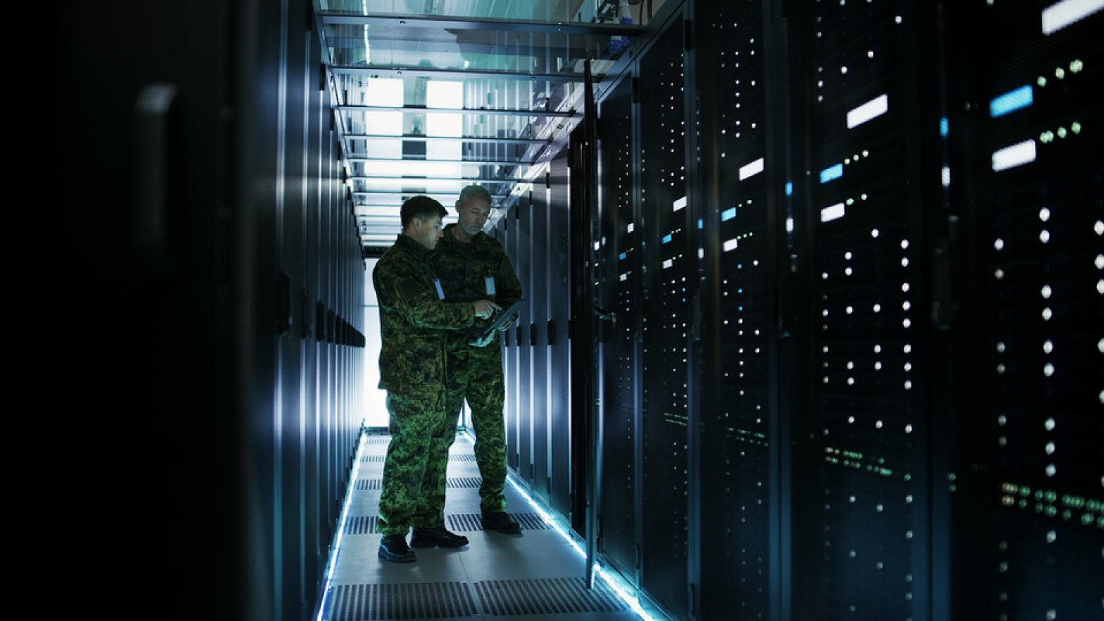 Military members work in an open server rack. The university has earned a $25 million contract with the National Nuclear Security Administration. The work will support strategic deterrence and nuclear threat reduction efforts. (Shutterstock)