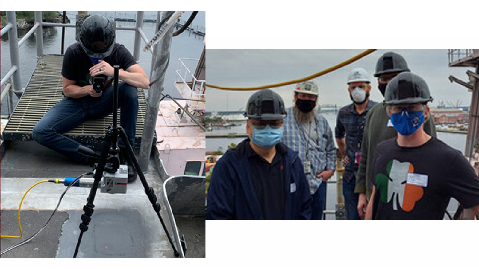 In Norfolk, Virginia, earlier this past fall, a Nebraska Engineering research team, including Tim Carlson (left photo) conducted a test of a laser-based system that prevents and repairs corrosion on aluminum-sided. The team (right photo) included Nebraska Engineering's Yongfeng Lu (left), Carlson (far right) and Nick Pease (obscured, second from right). Others pictured are (right of Lu) Richard Stark of NavSea and Donald Tubbs of Electrawatch.
