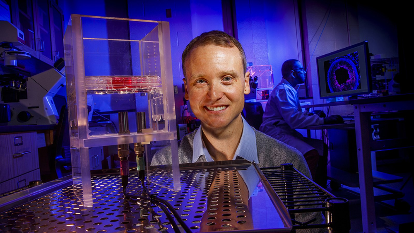 Ryan Pedrigi, assistant professor of mechanical and materials engineering at the University of Nebraska–Lincoln, will use a five-year, $543,000 award from the National Science Foundation's Faculty Early Career Development Program to lay the groundwork for a targeted, noninvasive treatment for atherosclerosis. (Craig Chandler / University Communication)