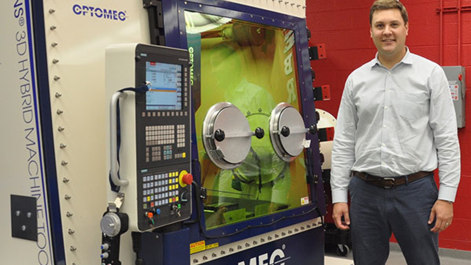Michael Sealy, assistant professor of mechanical and materials engineering, and his team are using the Optomec LENS 3D hybrid printer in the NEAT Labs to develop a process for manufacturing customized, dissolvable magnesium surgical implants.