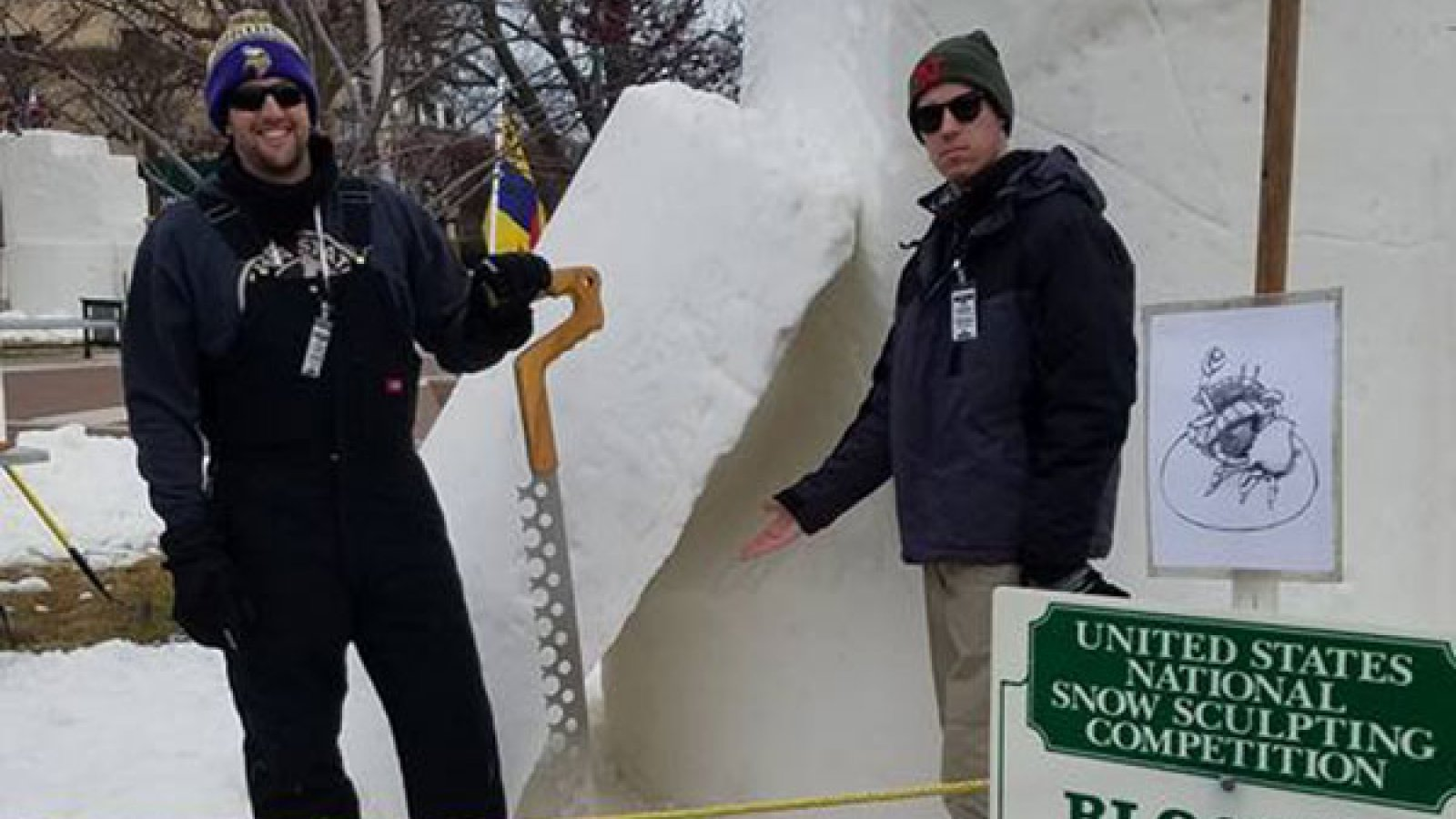 Civil engineering student Taylor Seeley (right) and Jason Perreault begin work on their 9-foot cylinder of snow on Wednesday in Lake Geneva, Wisconsin.