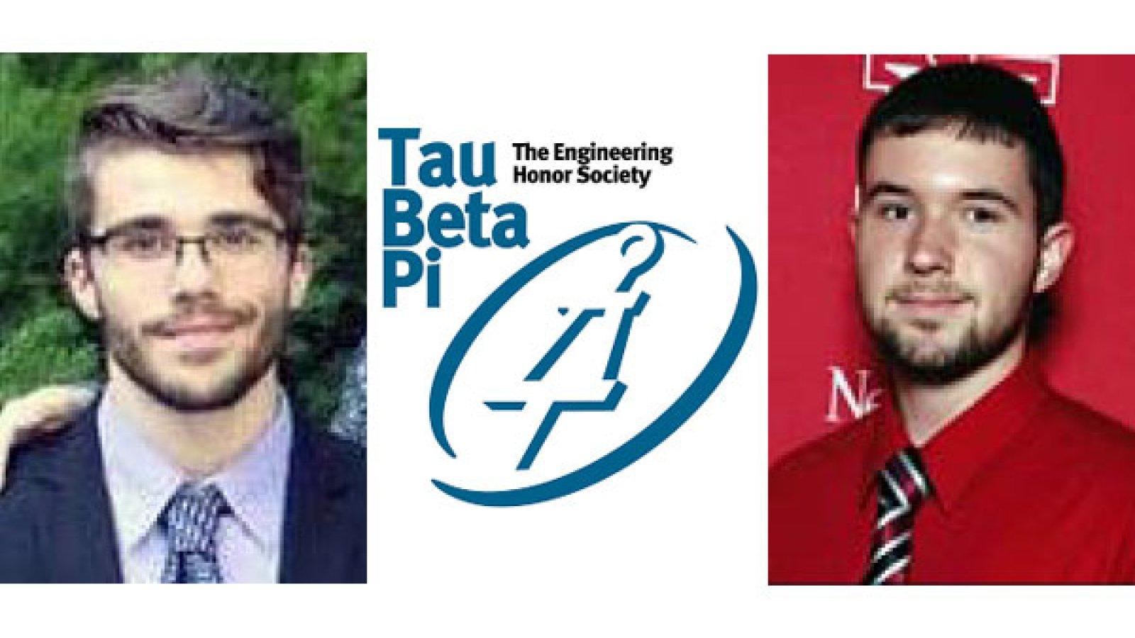 Nebraska Engineering students Zvonimir Pusnik (left) and Nicholas Seier were chosen as 2018-19 Tau Beta Pi Scholars.